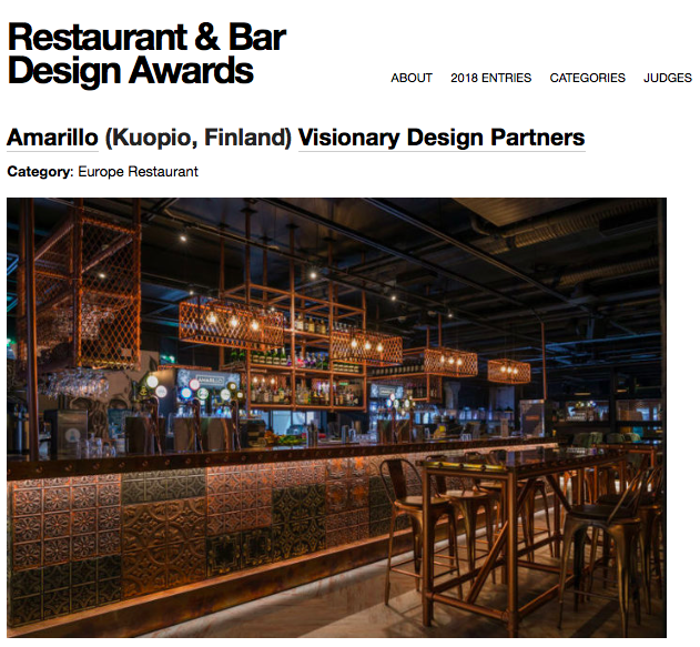 Restaurant & Bar Design Awards 2018 News