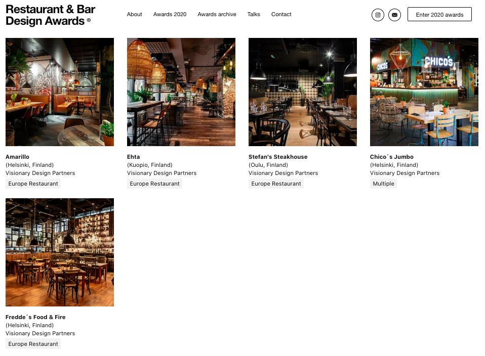 Restaurant & Bar Design Awards 2020 News